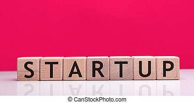 Startup word made with building blocks. - Startup word made ...