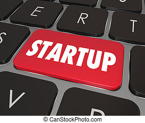 Startup word on a red button on a computer keyboard to illustrate starting your internet or online website business and searching for helpful information to launch the company