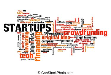 Startups concept. Tech start-up company word cloud sign.