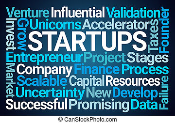 Startups Word Cloud on Blue Background