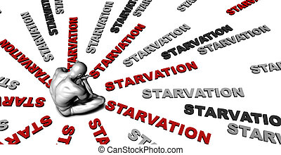 Starvation - Suffering From Starvation with a Victim Crying...