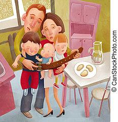 Starving family - Square illustration of family tighten the...