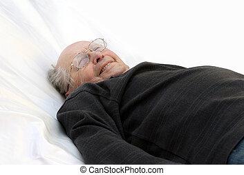 stary, łóżko, człowiek