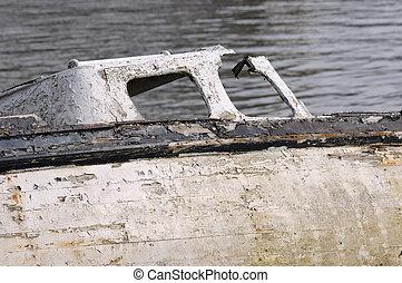 stary, łódki, na, rest.