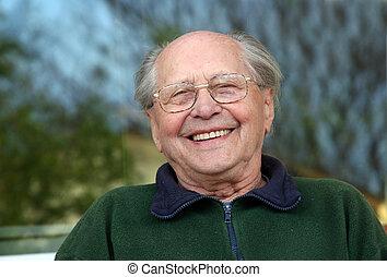 stary, śmiech, człowiek