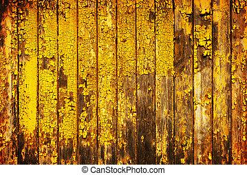 stary, żółty, drewno, tło