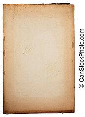 stary, żółty, textured, papier, na, biały