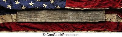 stary, amerykańska bandera, tło