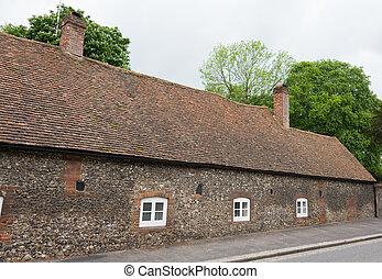 stary, angielska wieś, dom