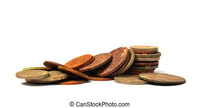 stary, balkans, rozsiadły, monety
