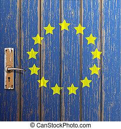 stary, barwiony, drewniany, bandera, drzwi, euro