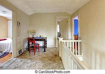 stary, biurko, w, korytarz, angielski, uroczy, house.