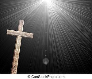 stary, brązowy, drewniany, krzyż