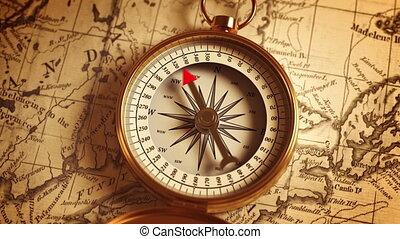 stary, busola, złoty, kierunek, mapa, wskazywanie