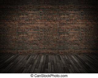 stary, ceglana ściana, z, drewno podłoga,