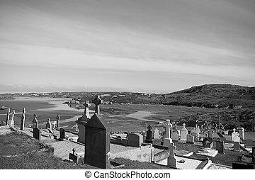 stary, celtycki, cmentarz, w, kincasslagh, hrabstwo donegal