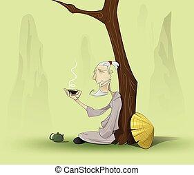 stary, chińczyk, posiedzenie, drzewo, pod, człowiek