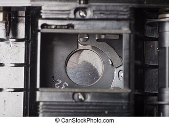 stary, do góry, żaluzja, aparat fotograficzny, retro, zamknięcie
