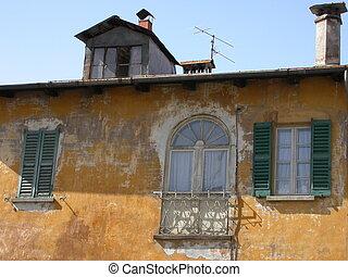 stary, dom, szczegół