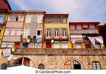 stary, domy, od, ribeira, porto, portugalia