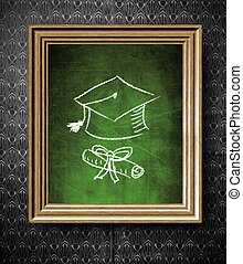 stary, drewniana budowa, korona, dyplom, skala, chalkboard