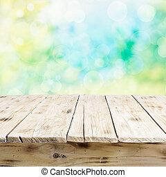 stary, drewniany, światło słoneczne, stół, świeży, opróżniać