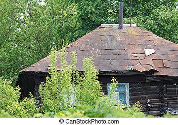 stary, drewniany dom, mieszkanie, od, faceci