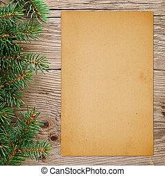 stary, drewniany, drzewo, papier, tło, gałęzie, boże narodzenie