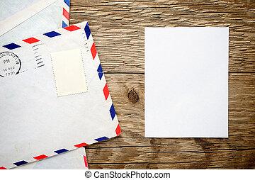 stary, drewniany, koperta, papier, tło, listek