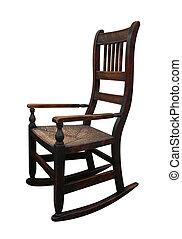 stary, drewniany, rockin, krzesło