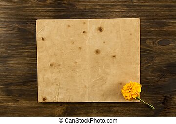 stary, drewniany, rocznik wina, paper., dwa, menu, do góry, tło., książka, recepta, czysty, listek, sędziwy, otwarty, kpić