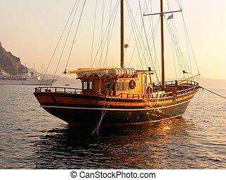 stary, drewniany, sailboat.