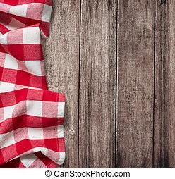 stary, drewniany stół, z, czerwony, piknik, tablecloth, i,...