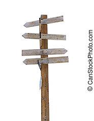 stary, drewniany, strzała, drogowskaz, odizolowany, na białym