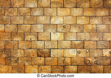 stary, drewno, cegły, tło