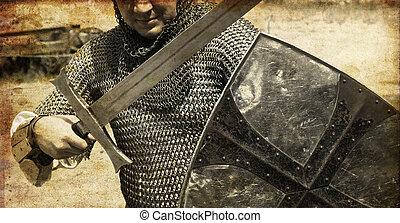 stary, fotografia, wizerunek, sword., rycerz, style.