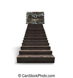 stary, górny, skarb skrzynia, drewno, schody