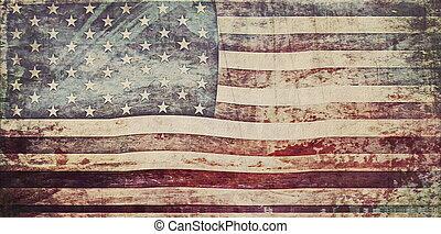 stary, grunge, usa bandera