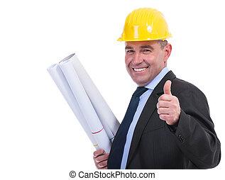 stary, inżynier, zawiera, koncepty, i, kciuki do góry