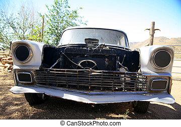 stary, klasyczny, amerykanka, wóz, w, pustynia, arizona, powierzchnia, usa