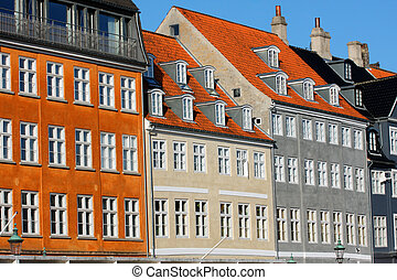stary, klasyk, nyhavn, dania, architektura, kopenhaga