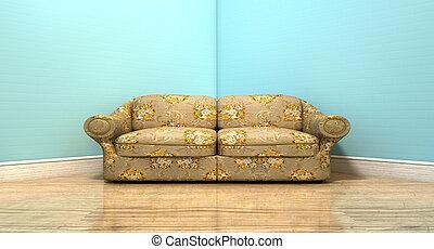 stary, klasyk, sofa, w pokoju