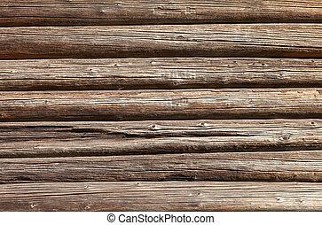 stary, kloce, drewniany dom, ściana, tło, wiejski