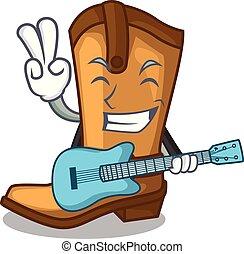 stary, kowboj, litera, czyścibut, gitara, formułować