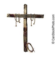 stary, krwawy, krzyż, i, korona cierniowa