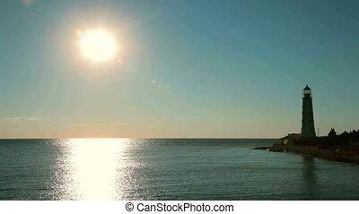 stary, latarnia morska, zachód słońca