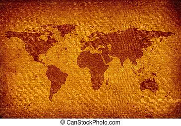stary, mapa, świat
