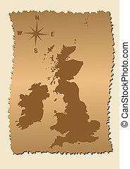 stary, mapa, od, wielka brytania, i, irlandia