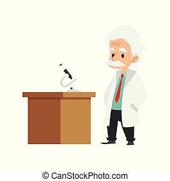 stary, marynarka, microscope., pracownia, naukowiec, stół, laboratorium, człowiek, oblezieni