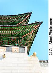 stary, miejsce zamieszkania, seul, pałac, królewski, gyeongbokgung, południe